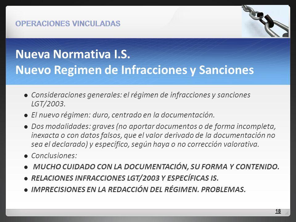 Nueva Normativa I.S. Nuevo Regimen de Infracciones y Sanciones