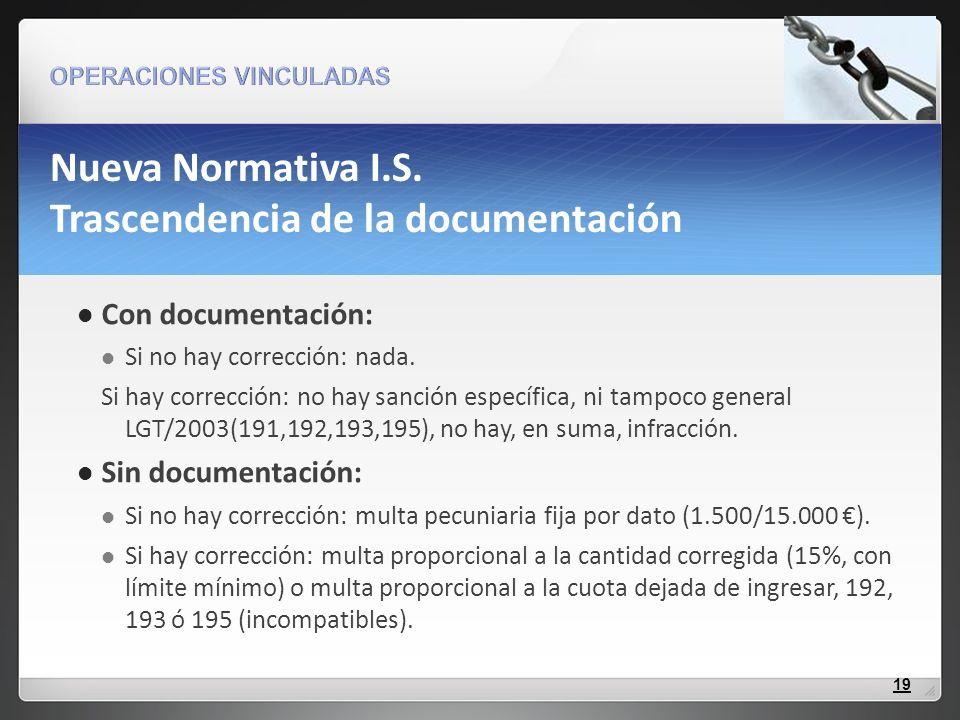 Nueva Normativa I.S. Trascendencia de la documentación