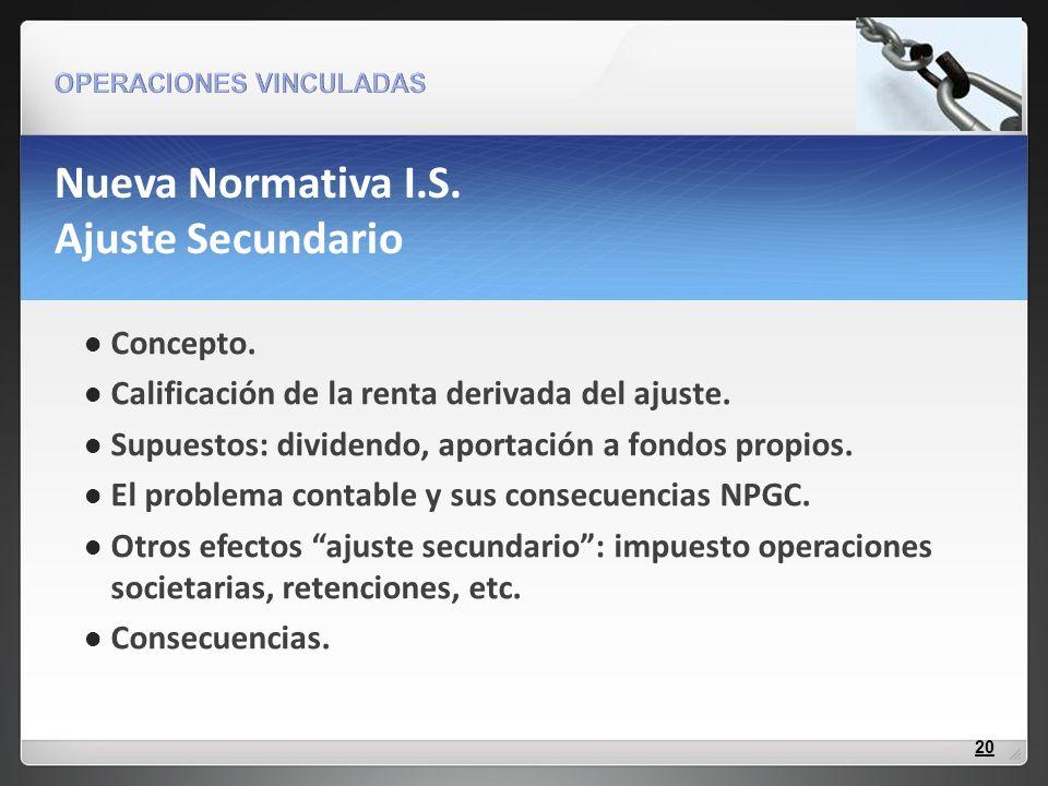Nueva Normativa I.S. Ajuste Secundario