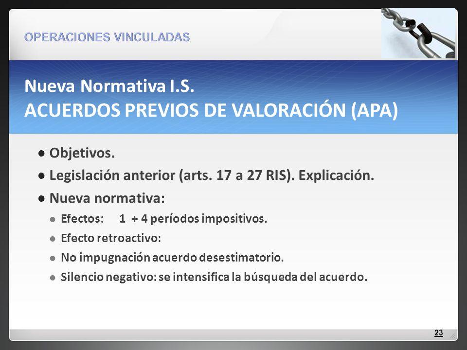 Nueva Normativa I.S. ACUERDOS PREVIOS DE VALORACIÓN (APA)