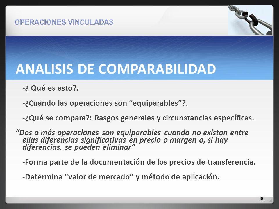 ANALISIS DE COMPARABILIDAD