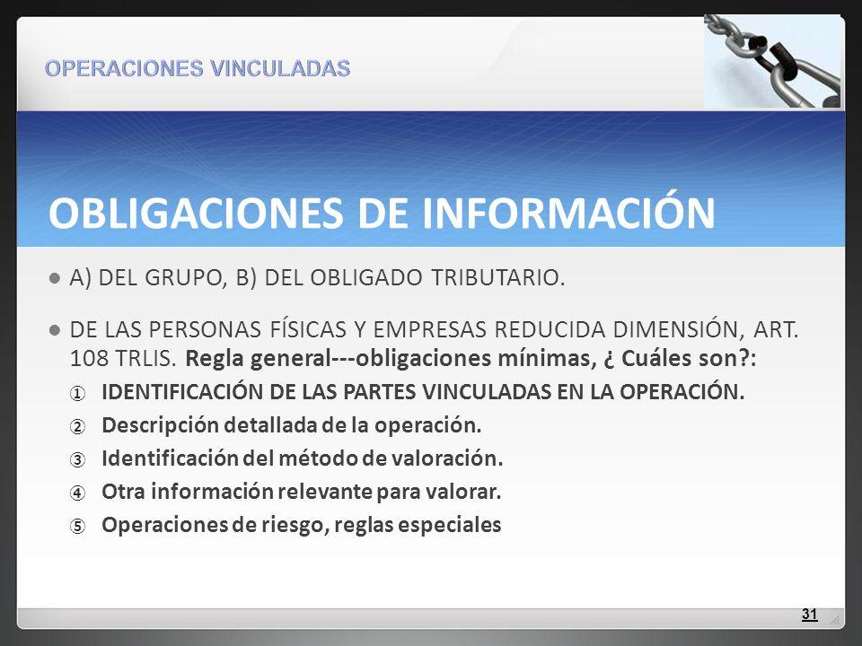 OBLIGACIONES DE INFORMACIÓN