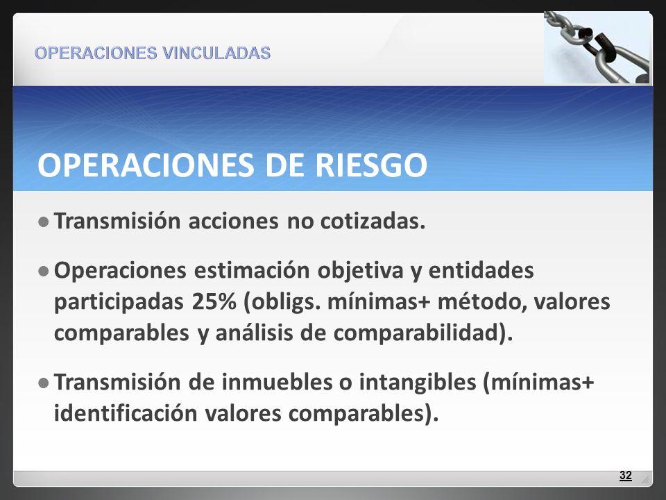 OPERACIONES DE RIESGO Transmisión acciones no cotizadas.