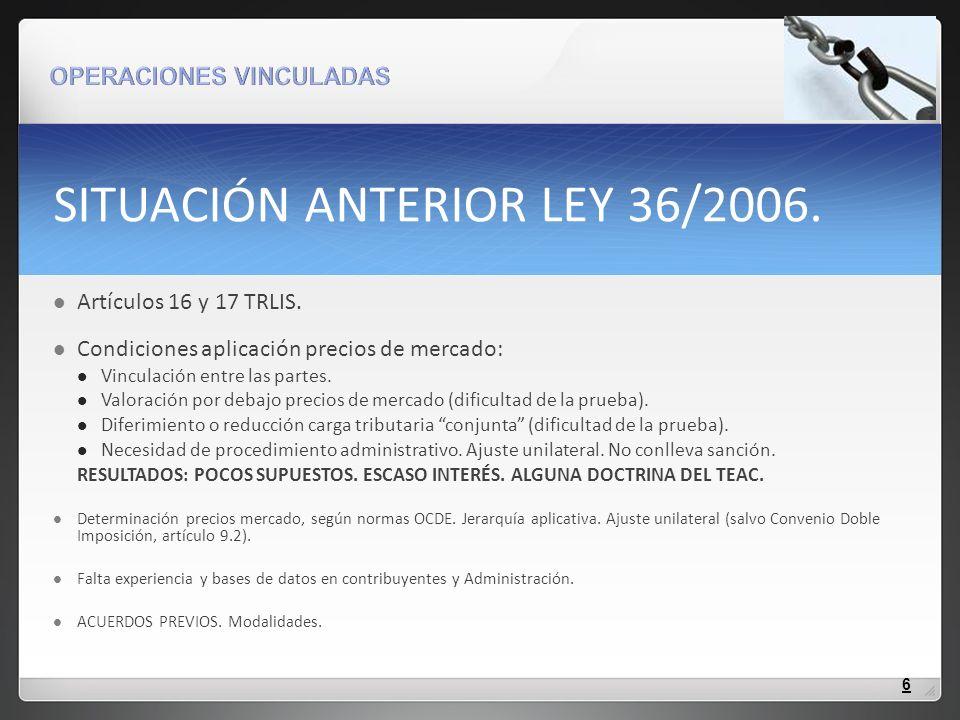 SITUACIÓN ANTERIOR LEY 36/2006.