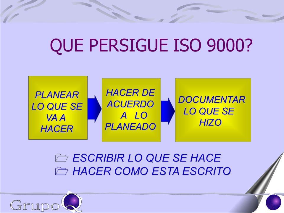 QUE PERSIGUE ISO 9000 ESCRIBIR LO QUE SE HACE HACER COMO ESTA ESCRITO