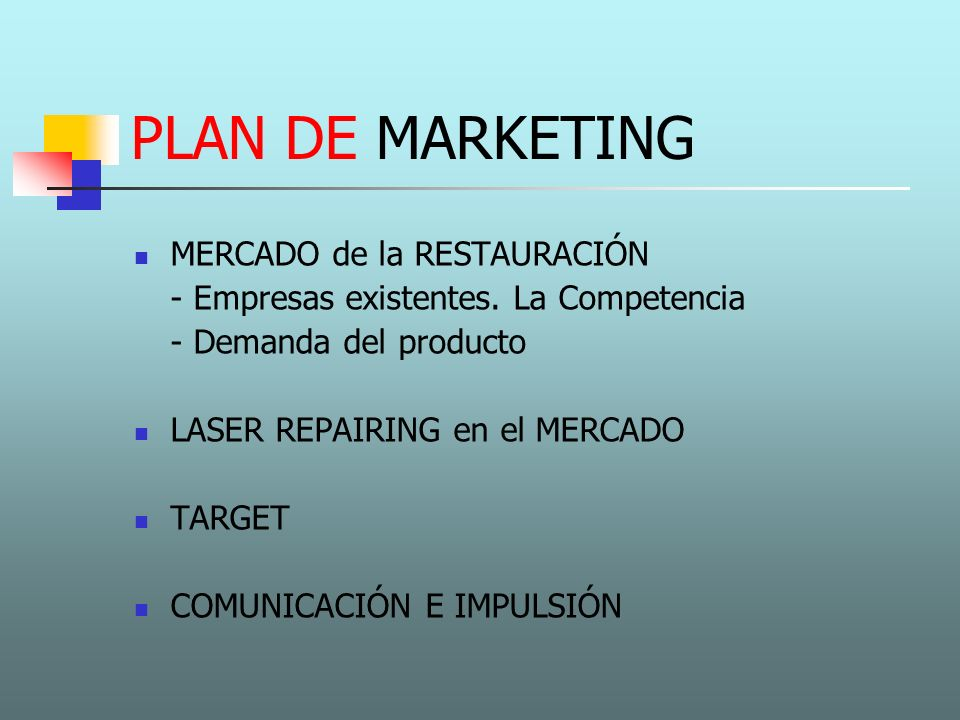 PLAN DE MARKETING MERCADO de la RESTAURACIÓN