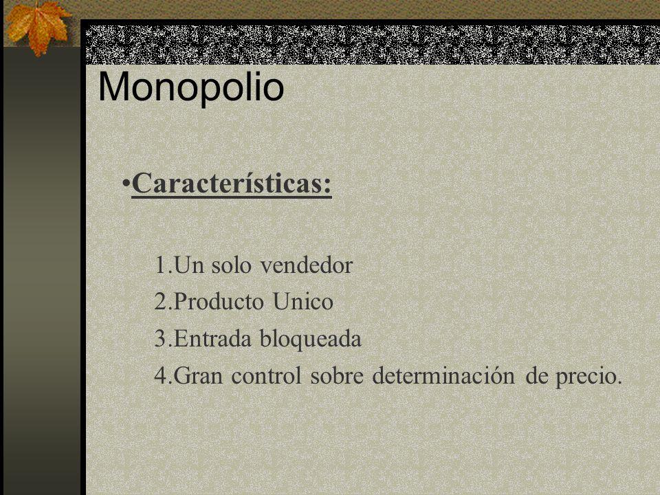 Monopolio Características: Un solo vendedor Producto Unico