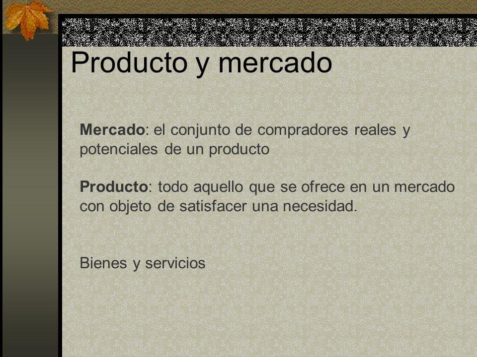 Producto y mercado Mercado: el conjunto de compradores reales y