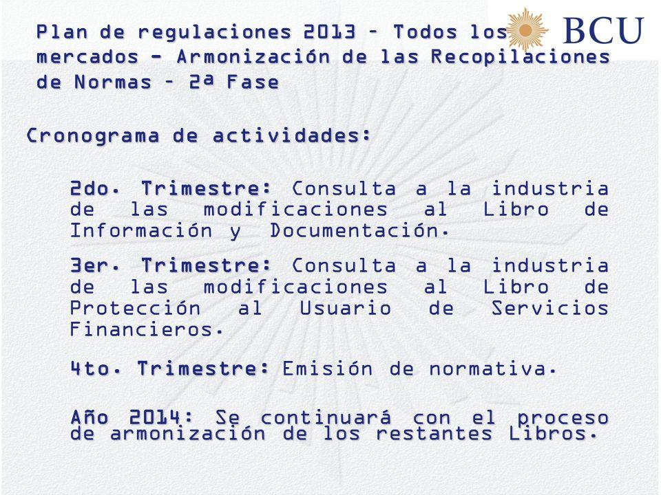 Plan de regulaciones 2013 – Todos los mercados - Armonización de las Recopilaciones de Normas – 2ª Fase