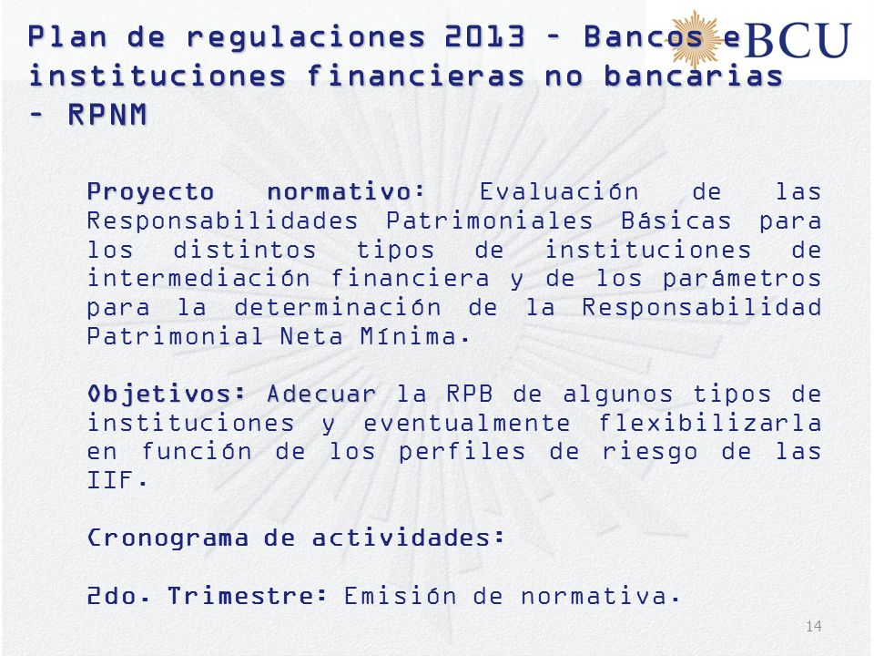 Plan de regulaciones 2013 – Bancos e instituciones financieras no bancarias – RPNM