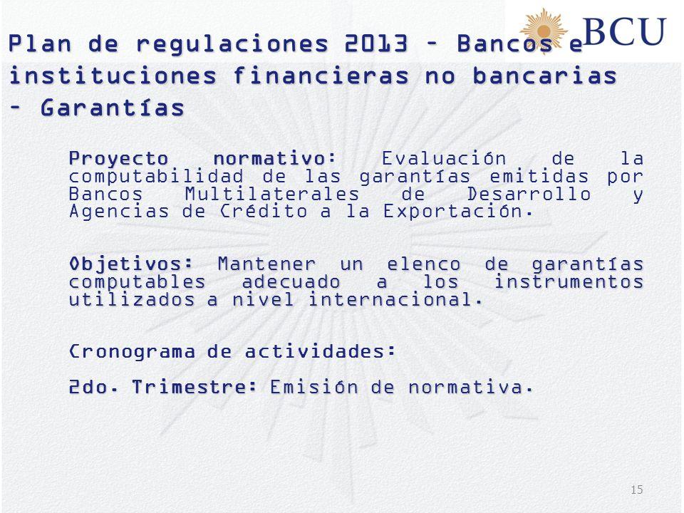 Plan de regulaciones 2013 – Bancos e instituciones financieras no bancarias – Garantías