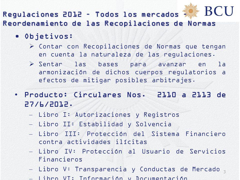 Producto: Circulares Nos. 2110 a 2113 de 27/6/2012.