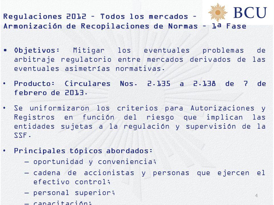 Regulaciones 2012 – Todos los mercados – Armonización de Recopilaciones de Normas – 1ª Fase