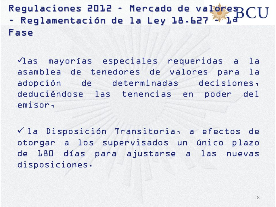 Regulaciones 2012 – Mercado de valores – Reglamentación de la Ley 18