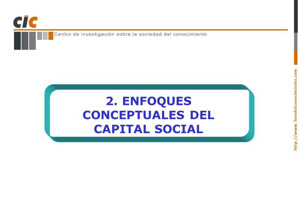 2. ENFOQUES CONCEPTUALES DEL CAPITAL SOCIAL