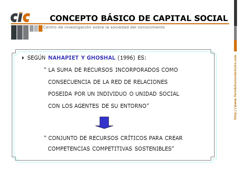 CONCEPTO BÁSICO DE CAPITAL SOCIAL