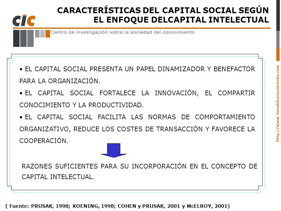 CARACTERÍSTICAS DEL CAPITAL SOCIAL SEGÚN EL ENFOQUE DELCAPITAL INTELECTUAL