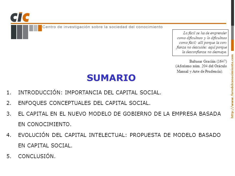 SUMARIO INTRODUCCIÓN: IMPORTANCIA DEL CAPITAL SOCIAL.