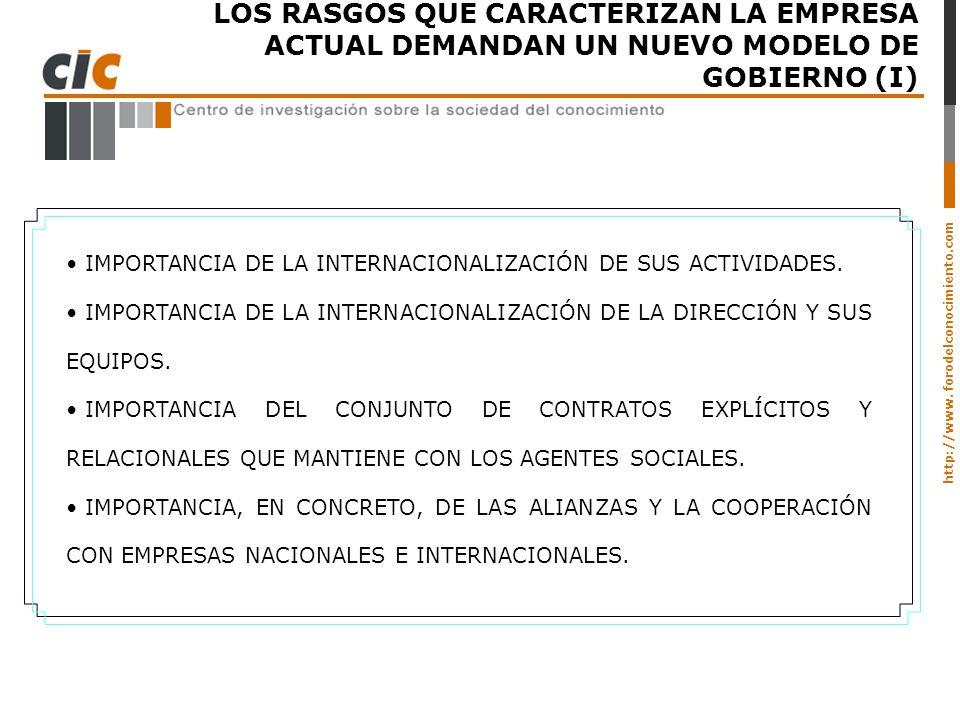 LOS RASGOS QUE CARACTERIZAN LA EMPRESA ACTUAL DEMANDAN UN NUEVO MODELO DE GOBIERNO (I)