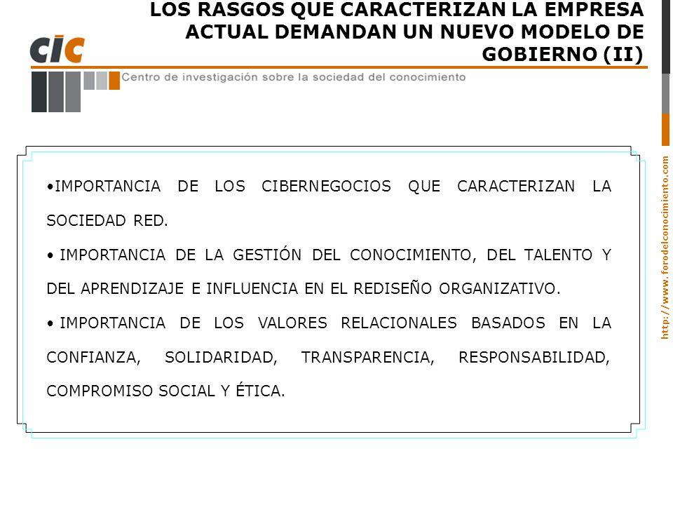 LOS RASGOS QUE CARACTERIZAN LA EMPRESA ACTUAL DEMANDAN UN NUEVO MODELO DE GOBIERNO (II)