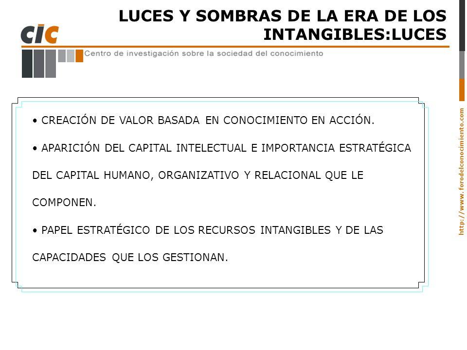 LUCES Y SOMBRAS DE LA ERA DE LOS INTANGIBLES:LUCES