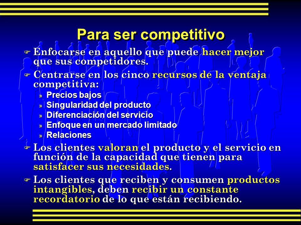 Para ser competitivo Enfocarse en aquello que puede hacer mejor que sus competidores. Centrarse en los cinco recursos de la ventaja competitiva: