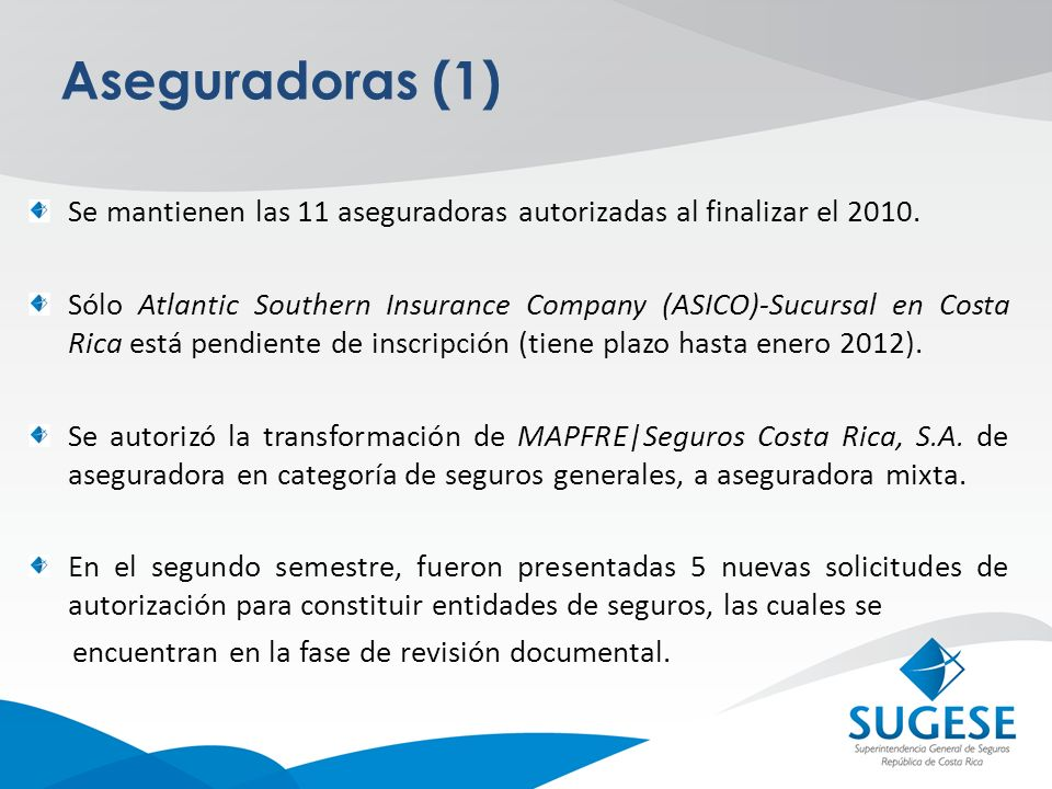 Aseguradoras (1) Se mantienen las 11 aseguradoras autorizadas al finalizar el 2010.