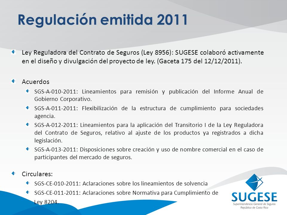 Regulación emitida 2011