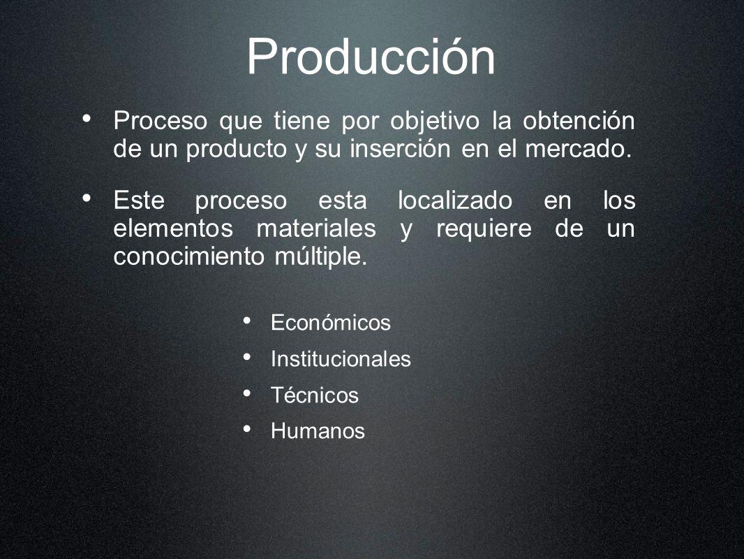 Producción Proceso que tiene por objetivo la obtención de un producto y su inserción en el mercado.