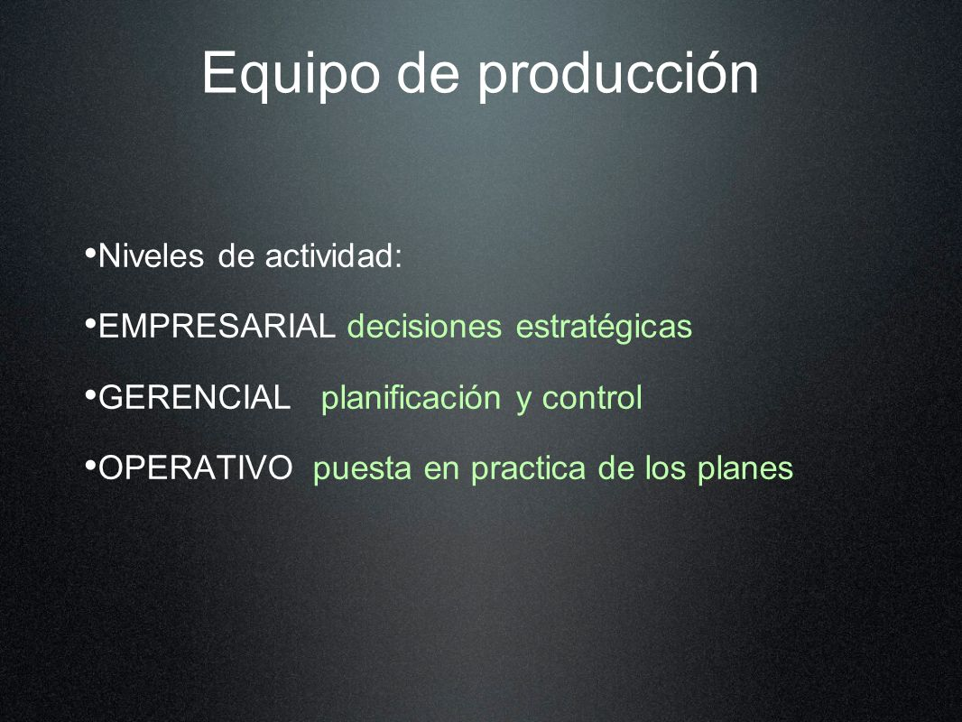 Equipo de producción Niveles de actividad: