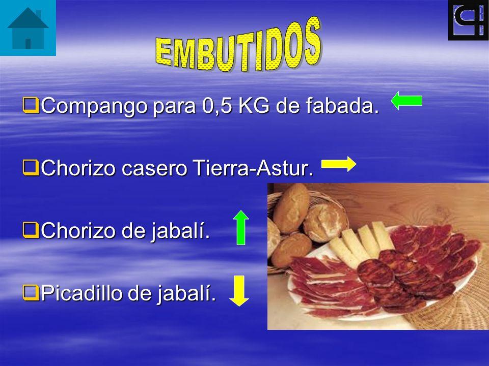 EMBUTIDOS Compango para 0,5 KG de fabada. Chorizo casero Tierra-Astur.