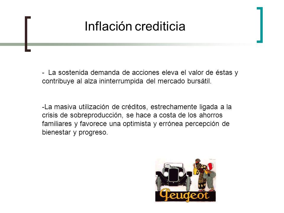 Inflación crediticia - La sostenida demanda de acciones eleva el valor de éstas y contribuye al alza ininterrumpida del mercado bursátil.