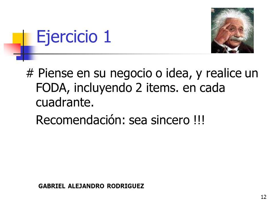 Ejercicio 1 # Piense en su negocio o idea, y realice un FODA, incluyendo 2 items. en cada cuadrante.