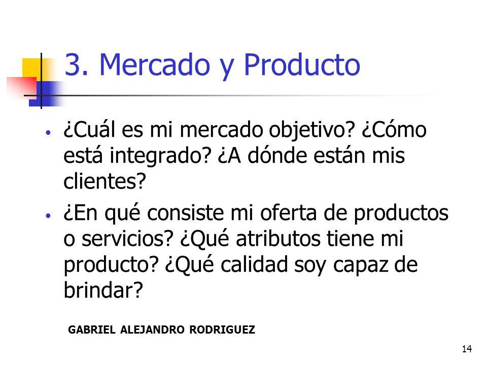 3. Mercado y Producto ¿Cuál es mi mercado objetivo ¿Cómo está integrado ¿A dónde están mis clientes