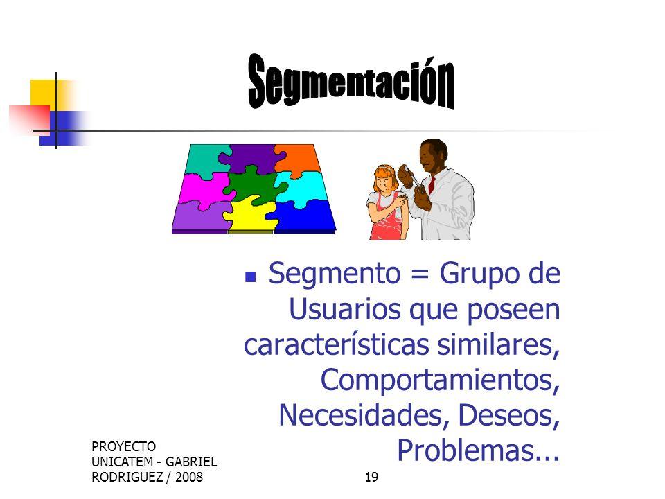 Segmentación Segmento = Grupo de Usuarios que poseen características similares, Comportamientos, Necesidades, Deseos, Problemas...