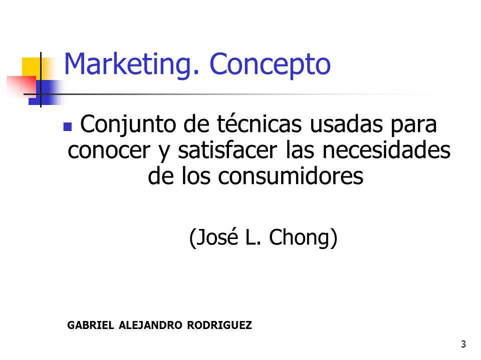 Marketing. Concepto Conjunto de técnicas usadas para conocer y satisfacer las necesidades de los consumidores.