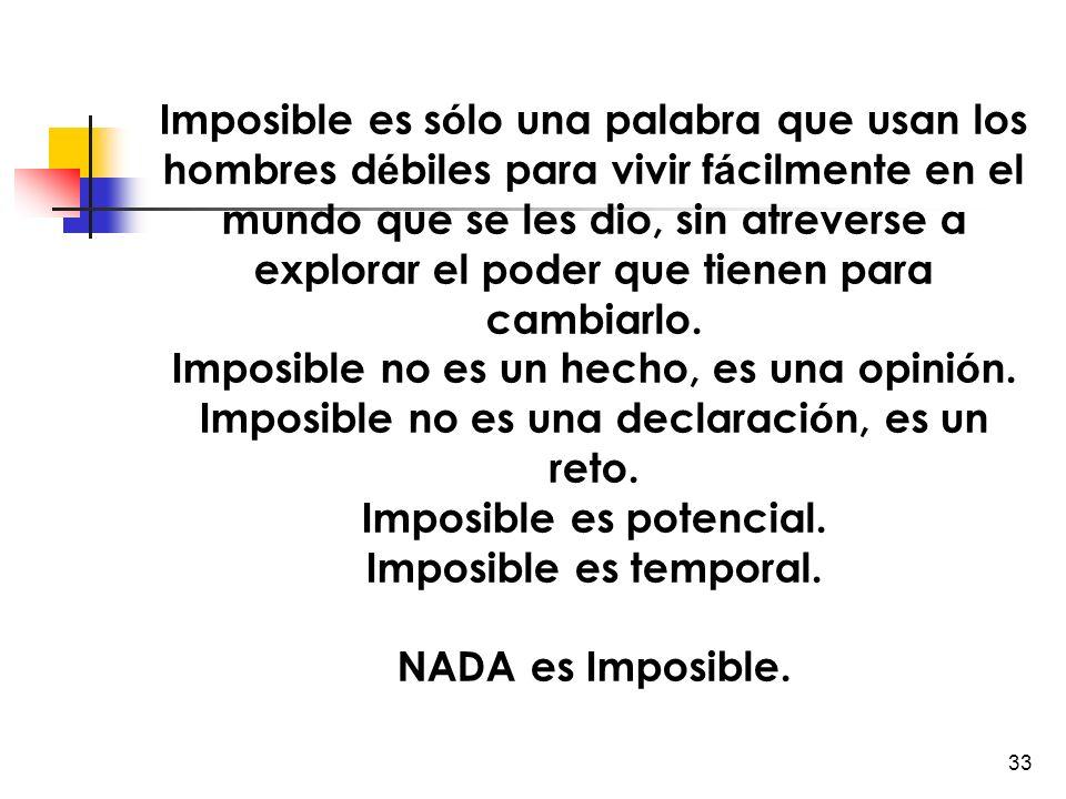 Imposible no es un hecho, es una opinión.