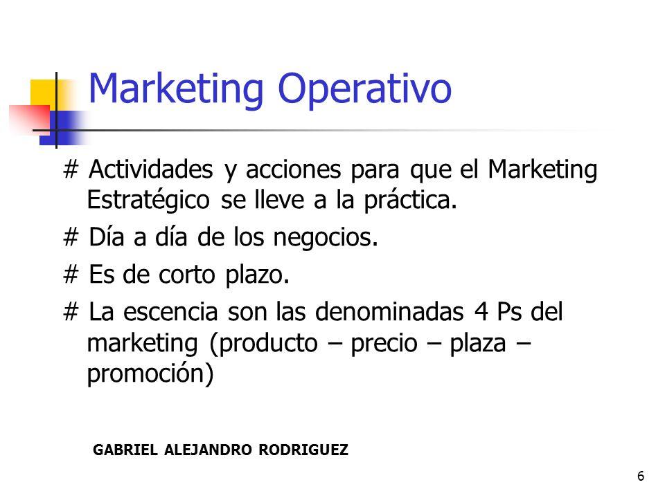 Marketing Operativo # Actividades y acciones para que el Marketing Estratégico se lleve a la práctica.