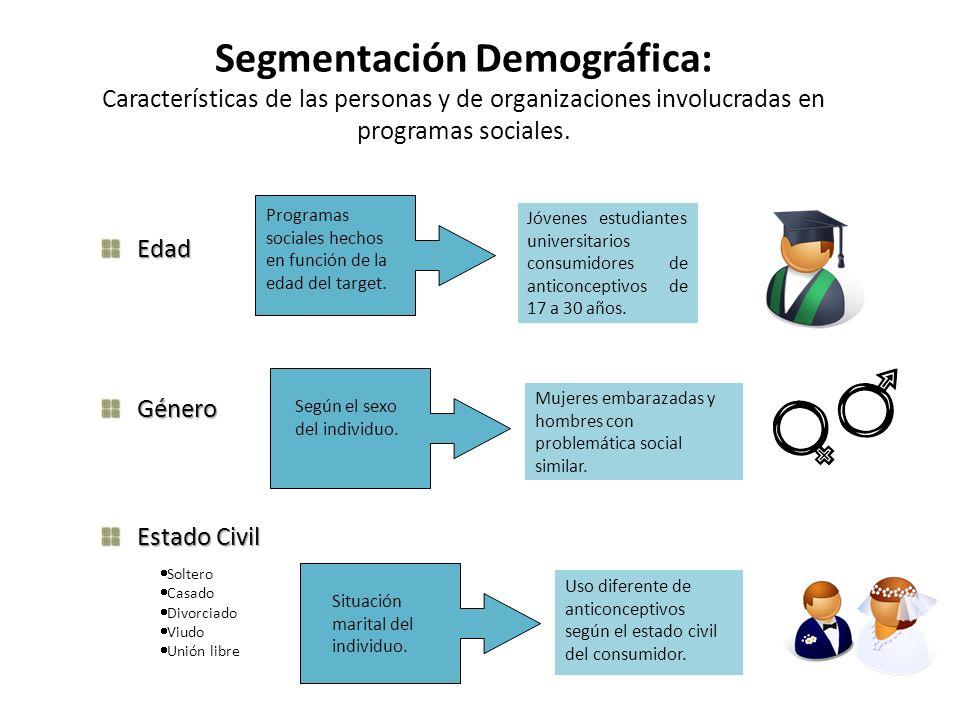 Segmentación Demográfica: Características de las personas y de organizaciones involucradas en programas sociales.
