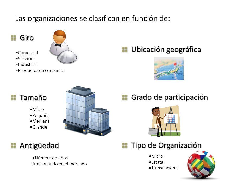 Las organizaciones se clasifican en función de: