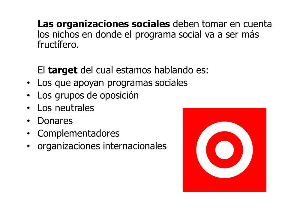 Las organizaciones sociales deben tomar en cuenta los nichos en donde el programa social va a ser más fructífero.