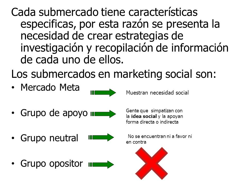 Los submercados en marketing social son: