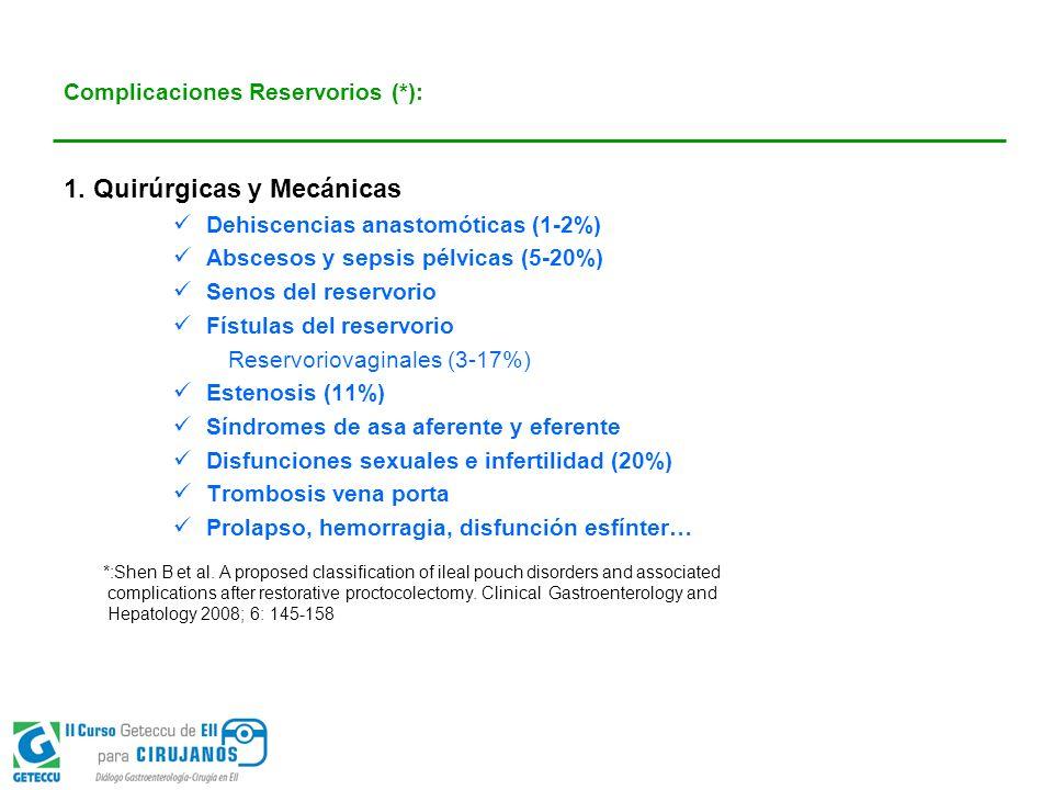 Complicaciones Reservorios (*):