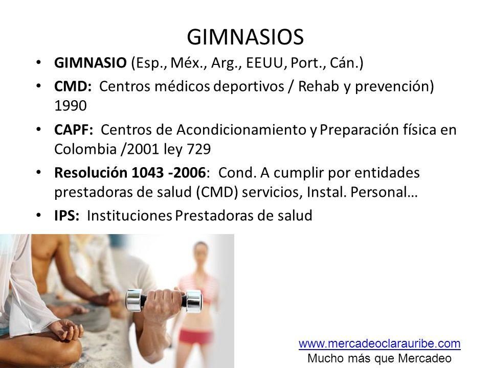 GIMNASIOS GIMNASIO (Esp., Méx., Arg., EEUU, Port., Cán.)