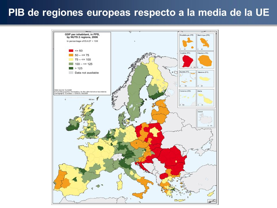 PIB de regiones europeas respecto a la media de la UE