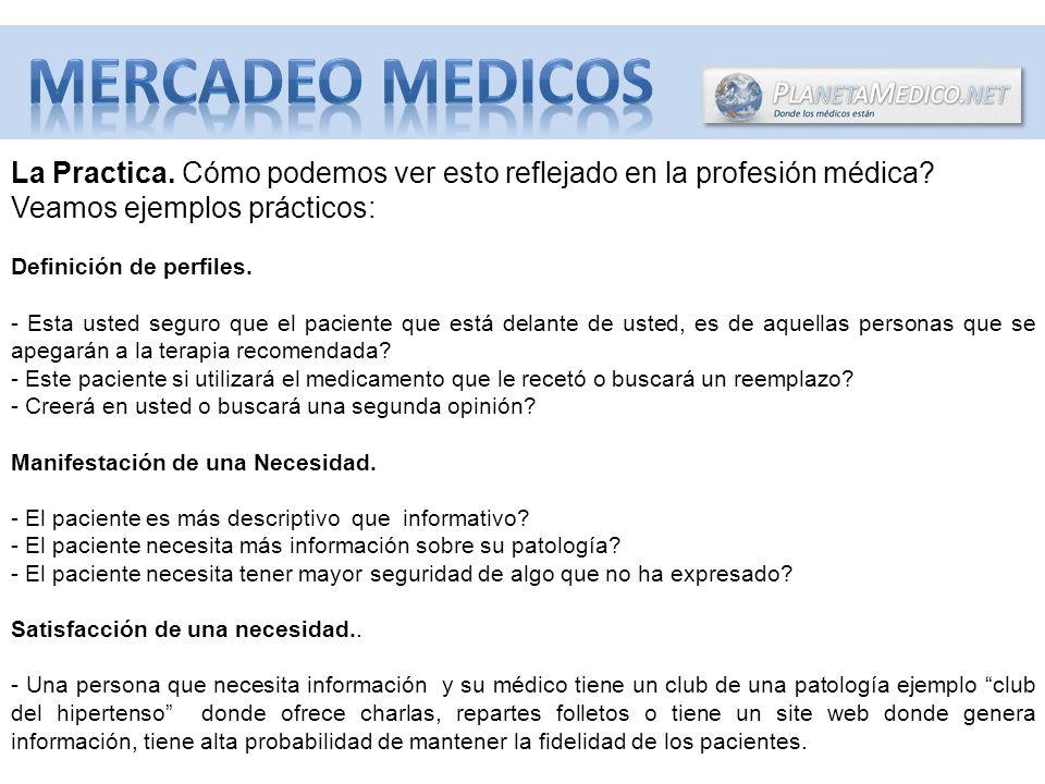 MERCADEO MEDICOS La Practica. Cómo podemos ver esto reflejado en la profesión médica Veamos ejemplos prácticos: