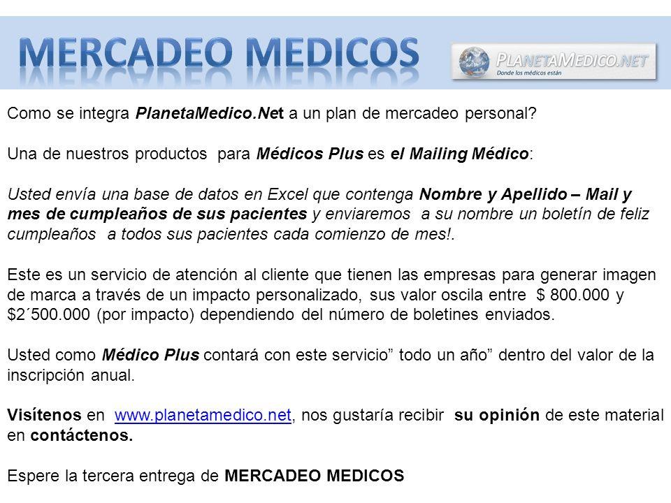 MERCADEO MEDICOS Como se integra PlanetaMedico.Net a un plan de mercadeo personal
