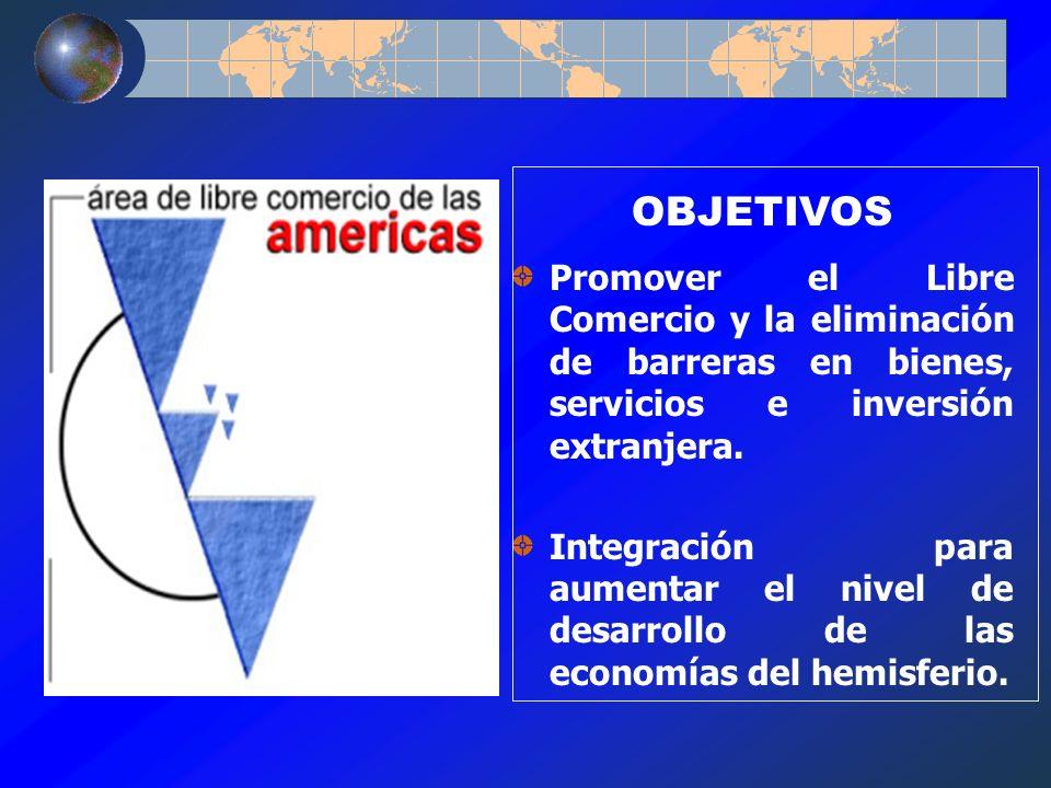 OBJETIVOS Promover el Libre Comercio y la eliminación de barreras en bienes, servicios e inversión extranjera.