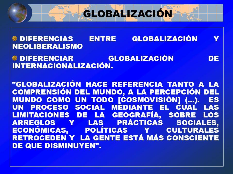 GLOBALIZACIÓN DIFERENCIAS ENTRE GLOBALIZACIÓN Y NEOLIBERALISMO