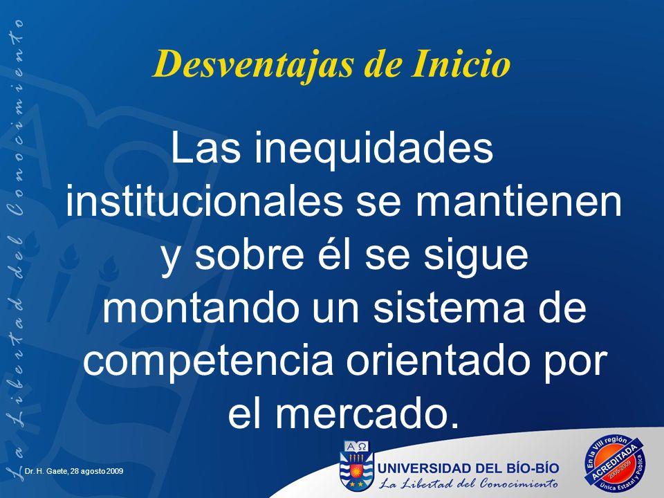 Desventajas de Inicio Las inequidades institucionales se mantienen y sobre él se sigue montando un sistema de competencia orientado por el mercado.